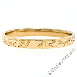 Vintage 14kt Rose Gold Etched Open Bangle Baby Bracelet