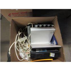 BOX OF POWER BARS, OFFICE SUPPLIES, ETC