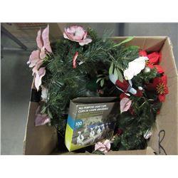 BOX OF FLOWERS, FLOWER POTS, ETC