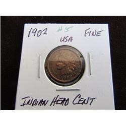 1902 USA INDIAN HEAD CENT (FINE)