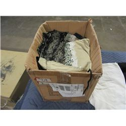 BOX OF PANTS, SWEATERS, ETC (VARIOUS SIZES)
