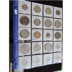 SHEET OF 20 VARIOUS CANADA COINS