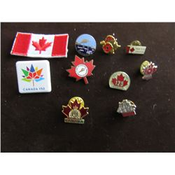 LOT OF 9 ASSORTED CANADIAN LAPEL PINS INLCUDING CANADA 150, ALBERTA WILD ROSE, TH BLUENOSE, ETC