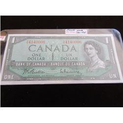 1954 BANK OF CANADA POKER HAND SERIAL NUMBER $1 BILL (2-4'S & 3-0'S)