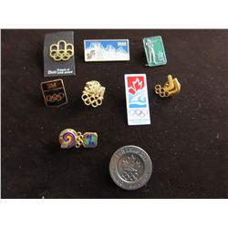LOT OF 9 VINTAGE OLYMPIC LAPEL PINS INCLUDING CALGARY 1988, SALT LAKE CITY, VANCOUVER 2010, ETC
