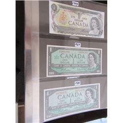 1973 & 1967 SERIAL NUMBER CENTENNIAL & 1954 CANADA $1 BILLS