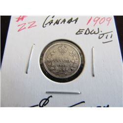 1909 CANADA KING EDWARD VII SILVER FIVE CENT COIN