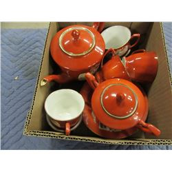 TEAPOT, SUGAR BOWL, 4 PLATES & 6 CUPS