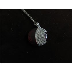 """TIBETAN SILVER & RED TITANIUM CRYSTAL WITH CLEAR PAVE CRYSTAL PENDANT ON 24"""" CHAIN"""