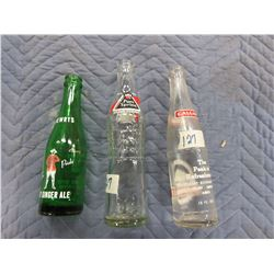 COLLECTIBLE:  3 BOTTLES (PURE SPRING, DREWERS, CALGARY)