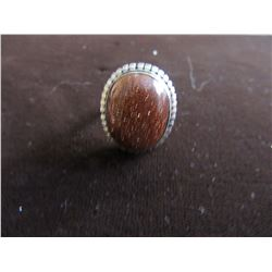 SILVER PLATED OVAL NATURAL GOLDTONE RING (SIZE 6)