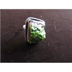 SILVER PLATED GREEN DRUZY RING (SIZE 9)