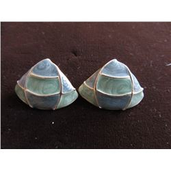 TRIANGULAR SHAPED GOLD TONE WITH PALE GREEN & BLUE ENAMEL ON POSTS