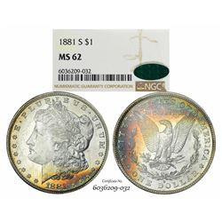 1881-S $1 Morgan Silver Dollar Coin NGC MS62 CAC Amazing Toning