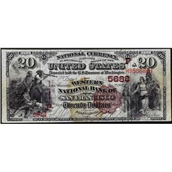 1882 $20 BB Western NB of San Francisco, CA CH# 5688 National Currency Note