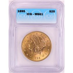 1895 $20 Liberty Head Double Eagle Gold Coin ICG MS61