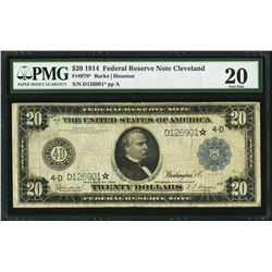 1914 $20 Federal Reserve STAR Note Cleveland Fr.978* PMG Very Fine 20