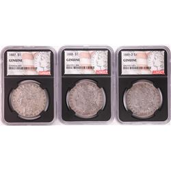 Lot of 1887, 1888, & 1889-O $1 Morgan Silver Dollar Coins NGC Genuine