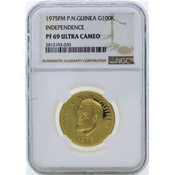 1975FM Papua New Guinea 100 Kina Independence Gold Coin NGC PF69 Ultra Cameo