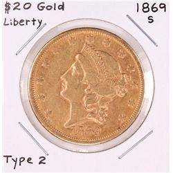 1869-S Type 2 $20 Liberty Head Double Eagle Gold Coin