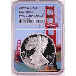 2019-S $1 Proof American Silver Eagle Coin NGC PF69 Ultra Cameo Bridge Core