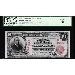 1902RS $10 City Bank of New York, NY CH# 1461 National Currency Note PCGS Very Fine 30