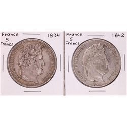 Lot of 1834 & 1842 France 5 Francs Silver Coins