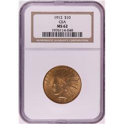 1912 $10 Indian Head Eagle Gold Coin NGC MS62 GSA Hoard