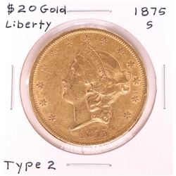 1875-S $20 Type 2 Liberty Head Double Eagle Gold Coin