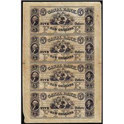 Uncut Sheet of (4) 1800's $5 Canal Bank New Orleans, Louisiana Obsolete Notes