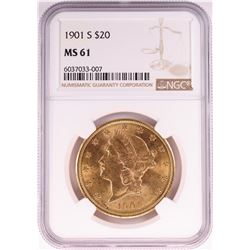 1901-S $20 Liberty Head Double Eagle Gold Coin NGC MS61