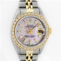 Rolex Ladies Two Tone 18K Gold Bezel Pink MOP Baguette Diamond Datejust Wristwatch
