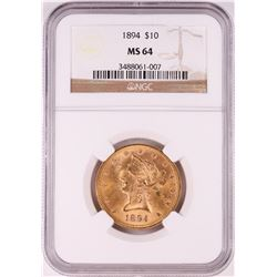 1894 $10 Liberty Head Eagle Gold Coin NGC MS64