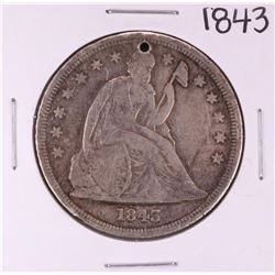 1843 $1 Seated Liberty Silver Dollar Coin - Hole