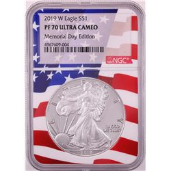 2019-W $1 Proof American Silver Eagle Coin NGC PF70 Ultra Cameo Memorial Day Flag Core