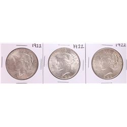 Lot of (3) 1922 $1 Peace Silver Dollar Coins
