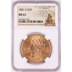 1881-S $20 Liberty Head Double Eagle Gold Coin NGC MS61