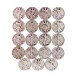 Lot of (19) 1917-P/D/S Walking Liberty Half Dollar Coins