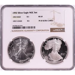 1992 $1 American Silver Eagle Coin Set NGC MS69/PF69 Ultra Cameo