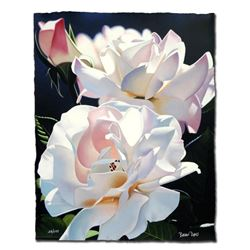 """Brian Davis """"Two White Roses"""" Limited Edition Giclee on Paper"""