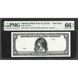 """1929 10 Unit American Bank Note Co. """"Test Note"""" PMG Gem Uncirculated 66EPQ"""