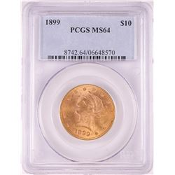 1899 $10 Liberty Head Eagle Gold Coin PCGS MS64