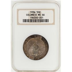 1936 Columbia Sesquicentennial Commemorative Half Dollar Coin NGC MS66