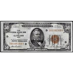 1929 $50 Federal Reserve Bank Note Cleveland