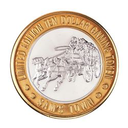 .999 Silver Sam Boyd's Sam's Town Las Vegas $10 Casino Gaming Token Limited Edition