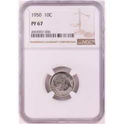 1950 Proof Roosevelt Dime Coin NGC PF67
