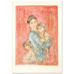 """Edna Hibel (1917-2014) """"Sonya and Family"""" Limited Edition Lithograph"""