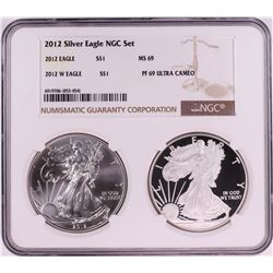 2012 $1 American Silver Eagle Coin Set NGC MS69/PF69 Ultra Cameo