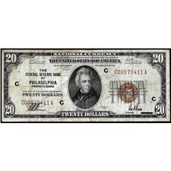 1929 $20 Federal Reserve Bank Note Philadelphia