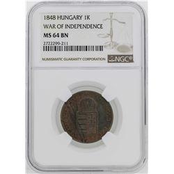 1848 Hungary War of Independece Kreuzer Coin NGC MS64